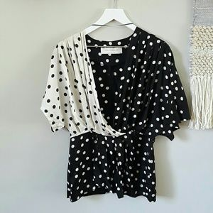 Zara Color Block Dotted Blouse